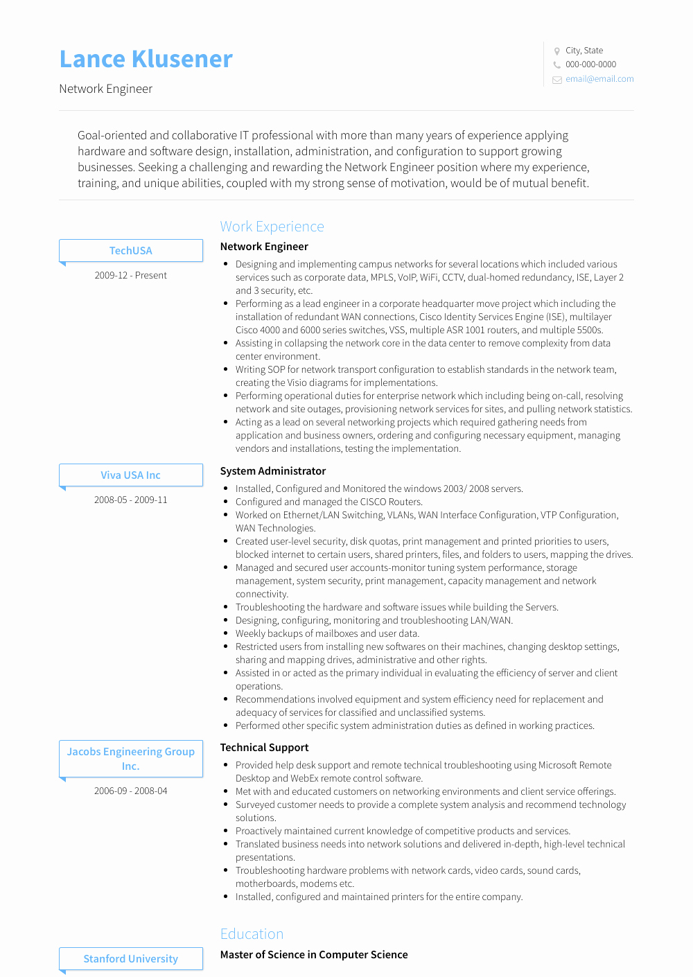 Network Engineer Resume Sample Lovely Network Engineer Resume Samples & Templates