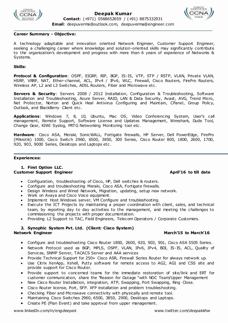 Network Engineer Resume Sample Lovely Resume for Network Engineer L2 Network Admin Team Leader