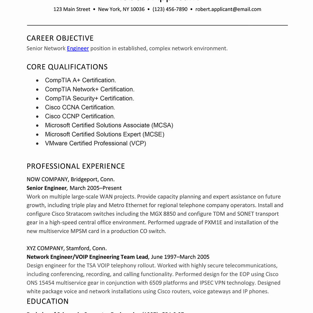 Network Engineer Resume Sample Unique Sample Resume for Experienced Network Engineer
