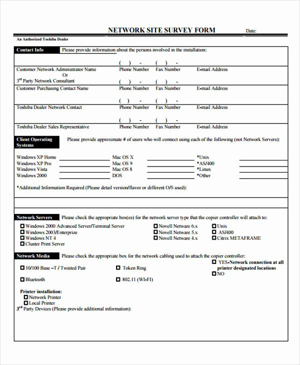 Network Site Survey Template Beautiful 48 Examples Of Survey forms Word Pdf