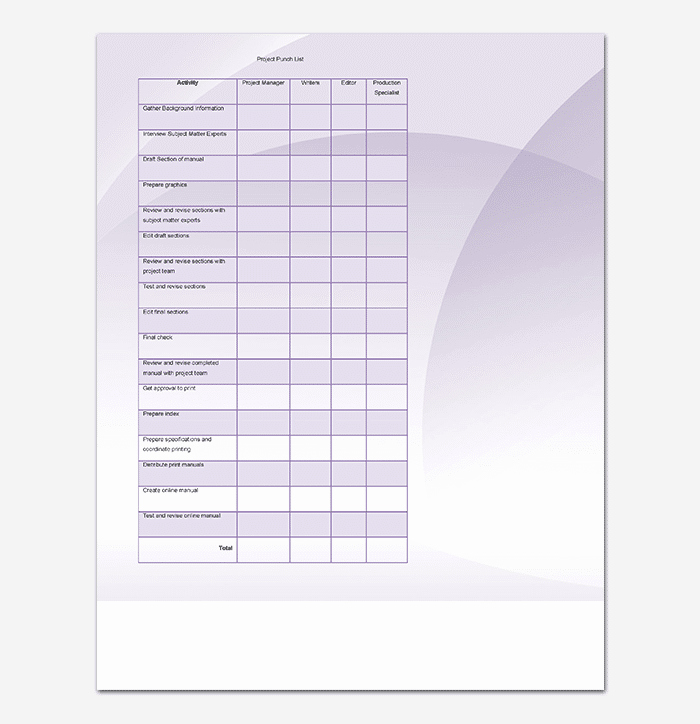New Construction Punch List Template New Punch List Template 14 Word Excel Pdf format