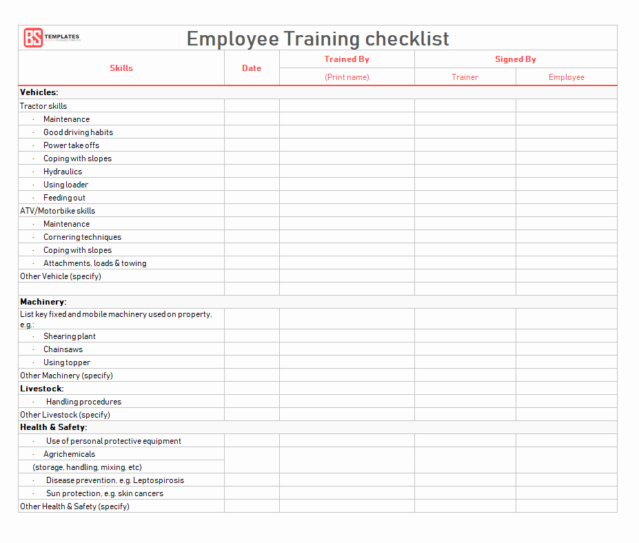 New Employee Checklist Template Excel Inspirational Employee Training Checklist Template for Excel & Word – Printable format