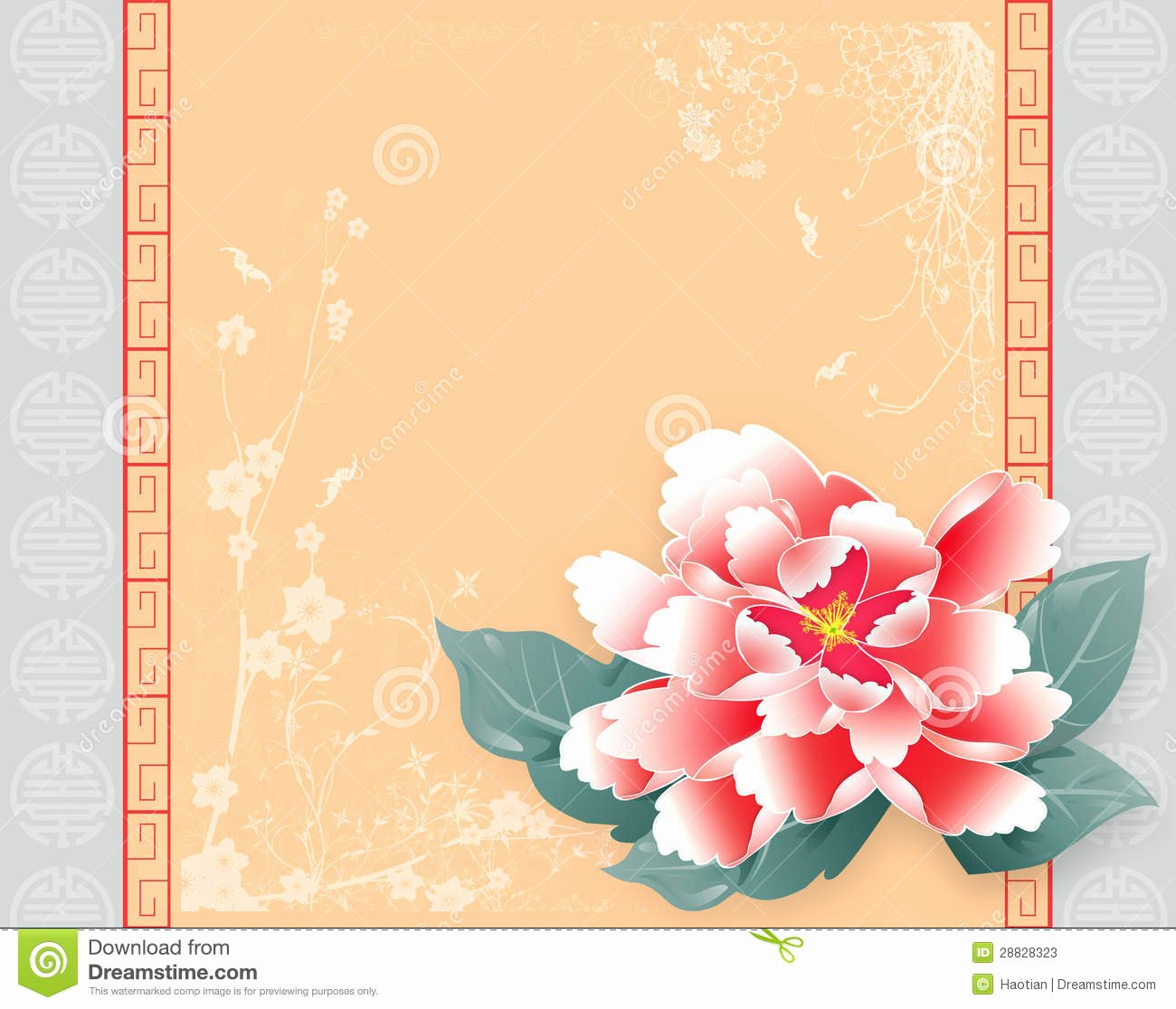 New Year Card Template Luxury Chinese New Year Card Peony Stock S Image