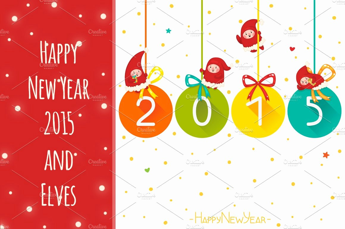 New Year Card Template Luxury Happy New Year 2015 and Elves Card Templates Creative Market