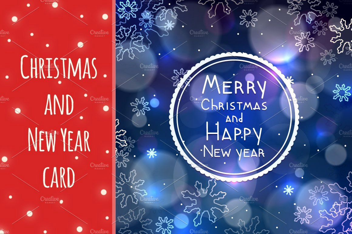 New Year Card Template New Christmas and New Year Greeting Card Card Templates Creative Market