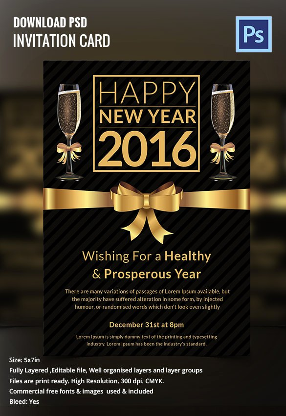 New Year Cards Templates Awesome 28 New Year Invitation Templates – Free Word Pdf Psd Eps Indesign format Download