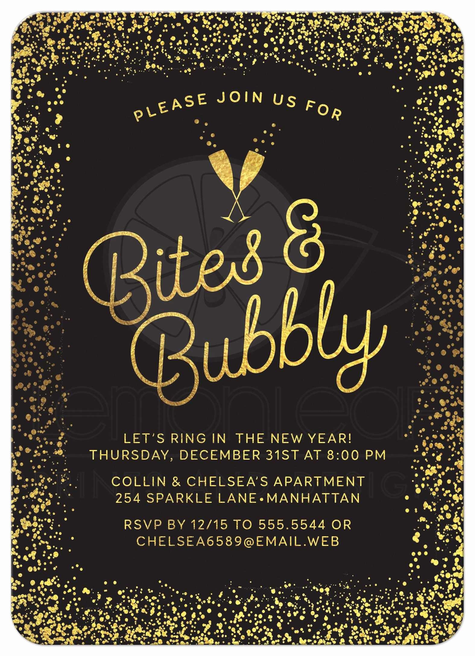 New Years Eve Invitation Templates Awesome New Year S Eve or Holiday Party Invitations Golden Confetti Bites & Bubbly