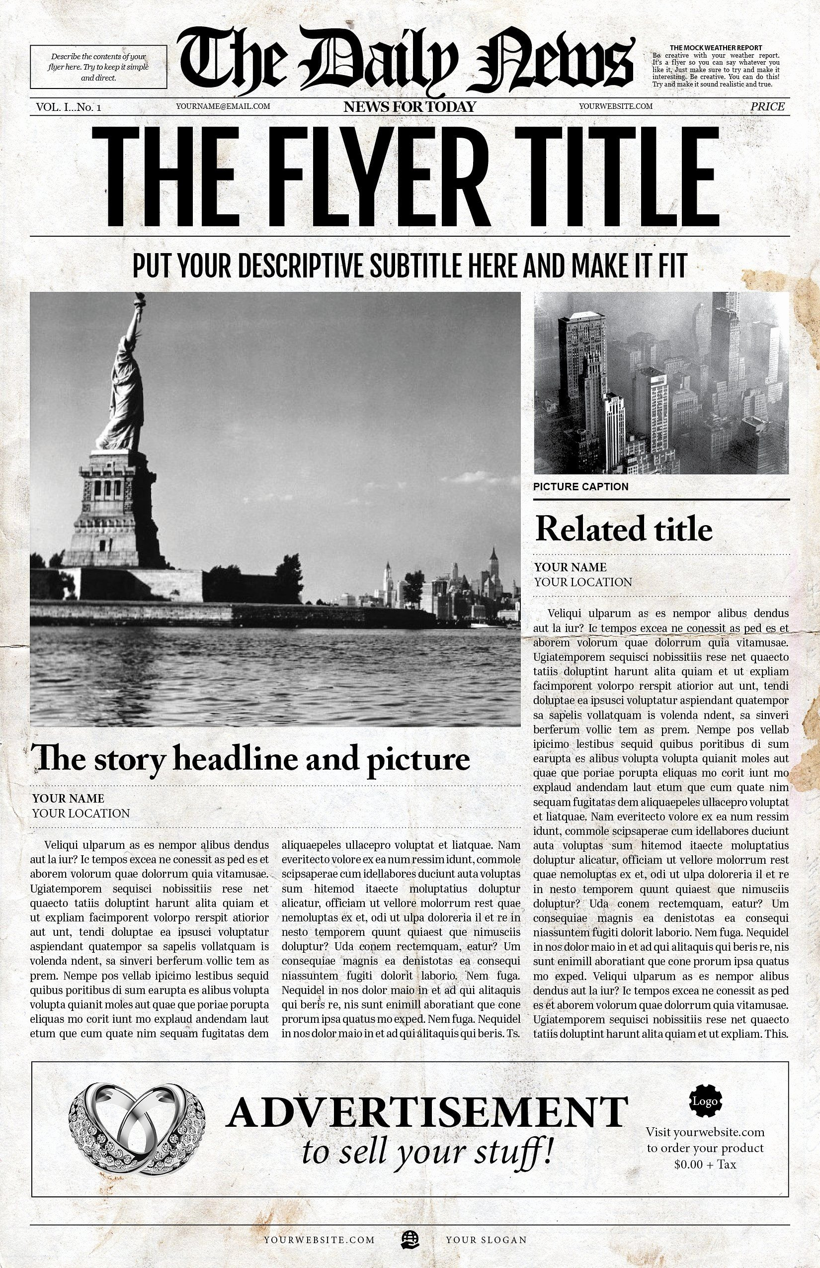 New York Times Newspaper Template Awesome 2x1 Page Newspaper Template Adobe Indesign 8 5x11 & 11x17 Inch