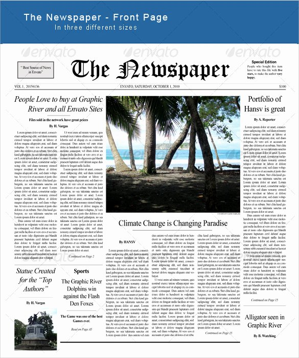 New York Times Newspaper Template Best Of Sample Newspaper Front Page 5 Documents In Word Pdf Psd