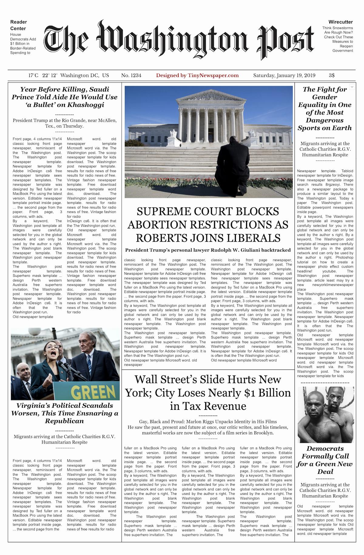 New York Times Newspaper Template Elegant Editable Newspaper Template