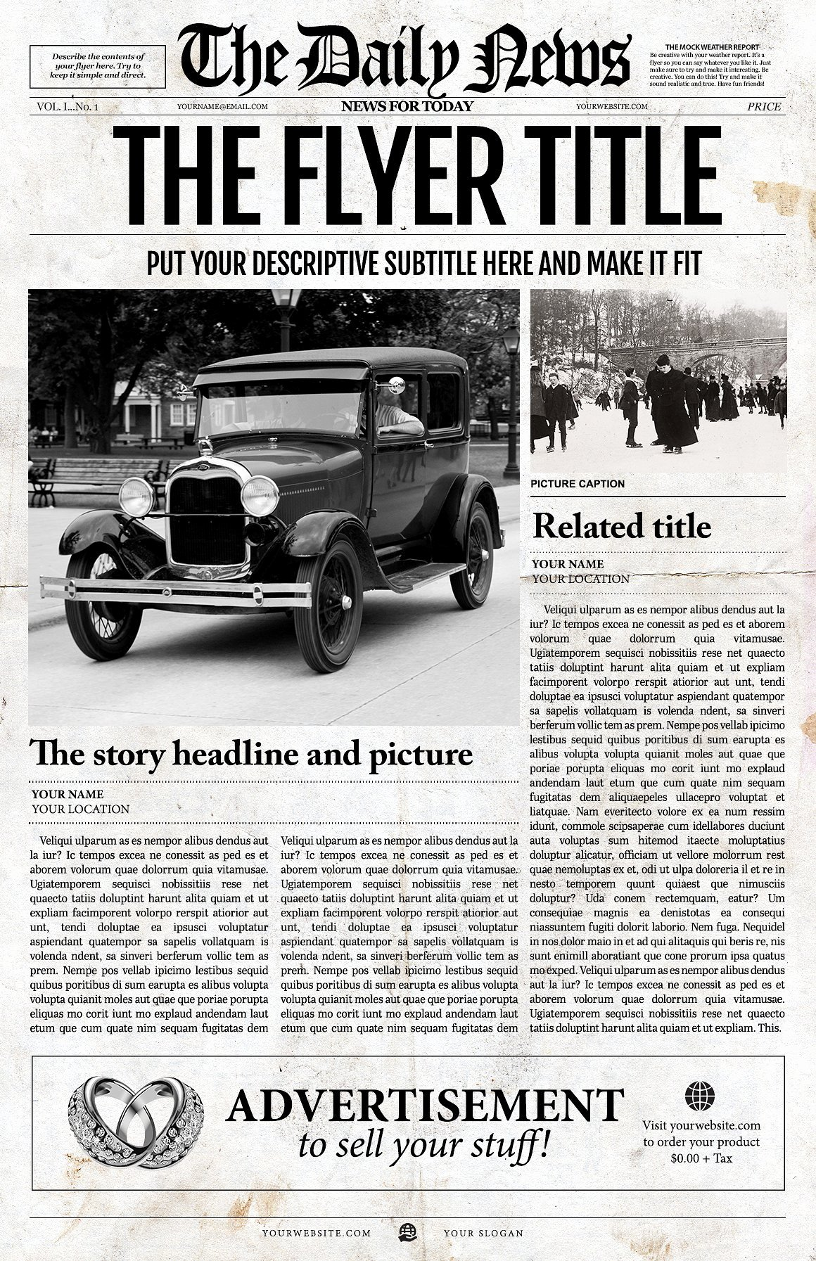 New York Times Newspaper Template Inspirational 1 Page Newspaper Template Ai Flyer Templates Creative Market