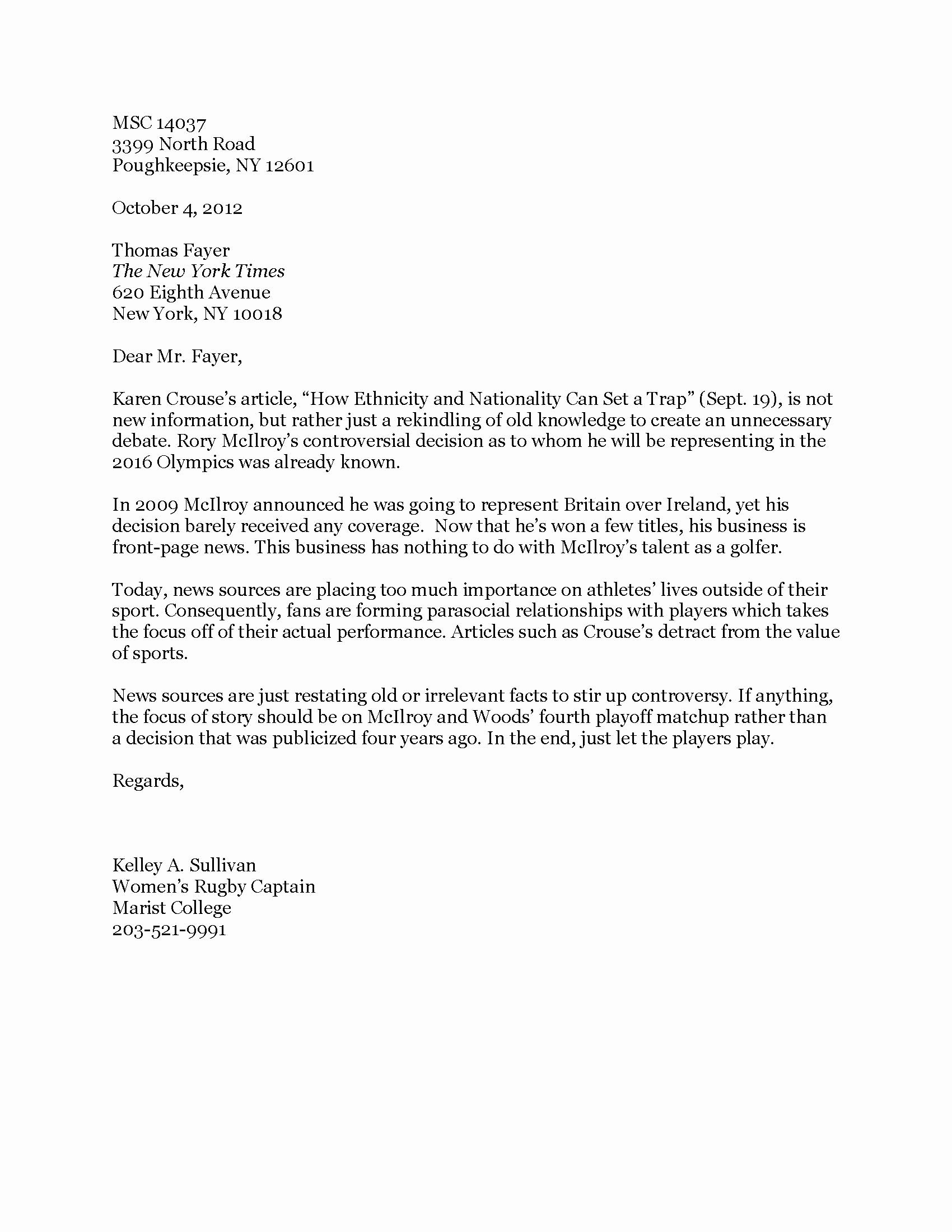 New York Times Newspaper Template Unique Letter to the Editor