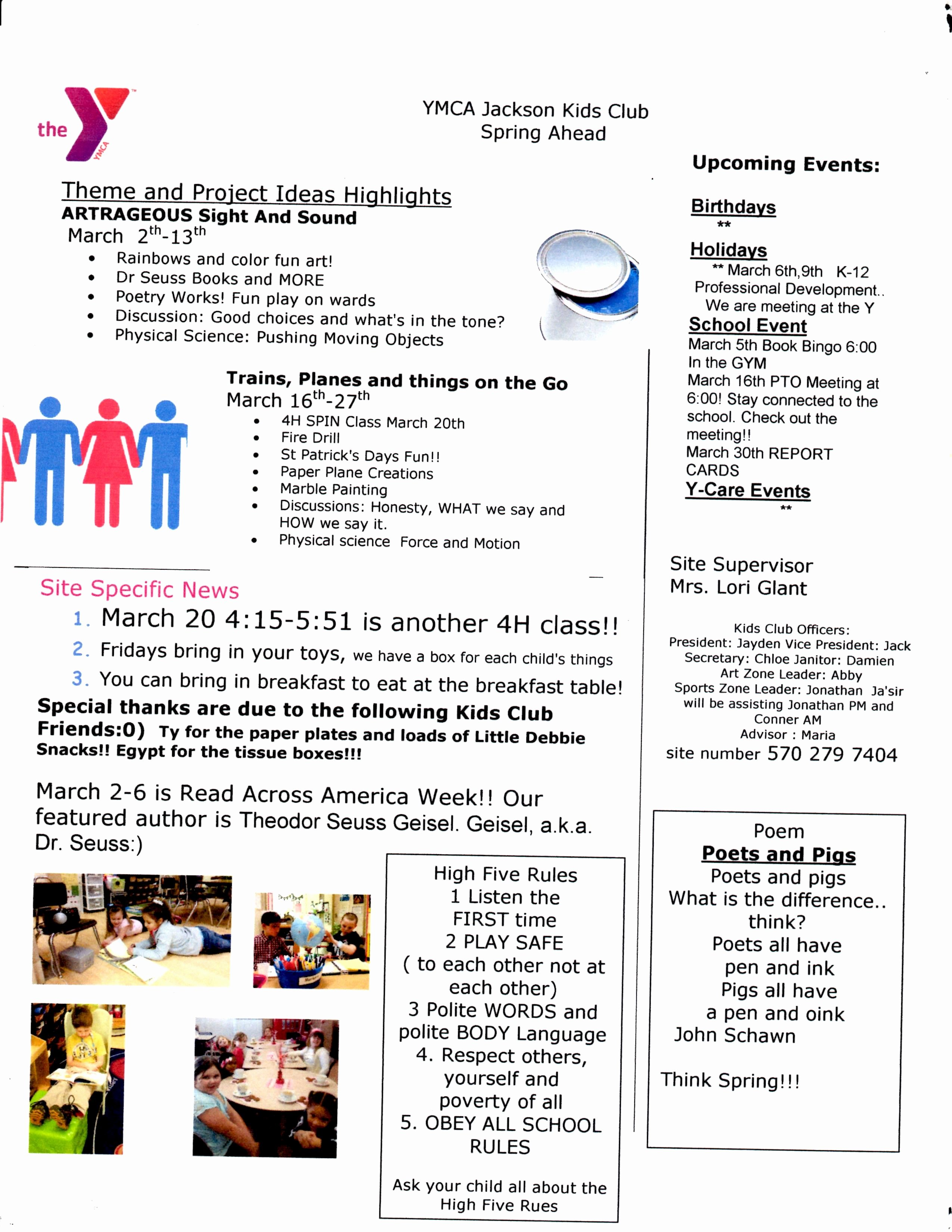 Newsletter Examples for Students Awesome Sample Of My Newsletter for the Kids Club the Ymca School