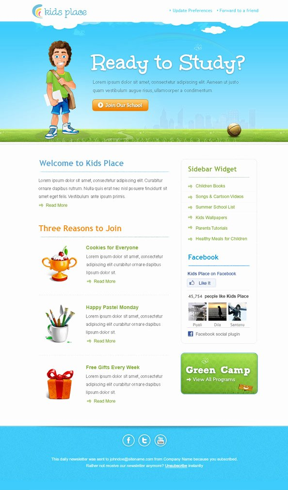 Newsletter Examples for Students Beautiful 36 Best Email Newsletter Templates Free Psd & HTML