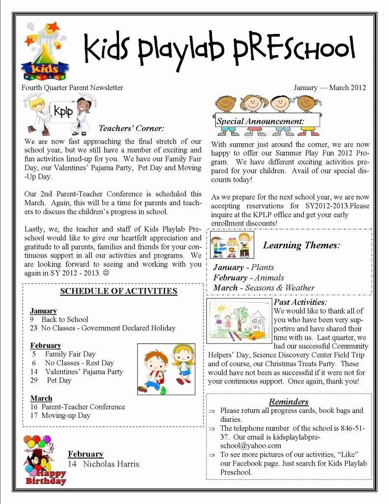 Newsletter Examples for Students Beautiful Kids Playlab Preschool In Makati City Fourth Quarter