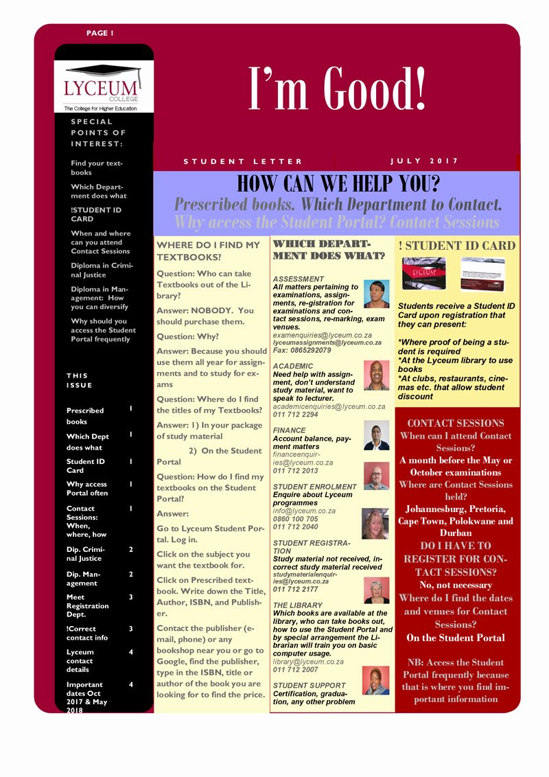 Newsletter Examples for Students Beautiful Student Newsletter