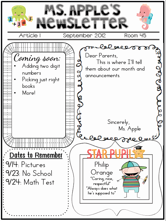 Newsletter Examples for Students Beautiful T is for Teaching Not Your Average Newsletter theres A
