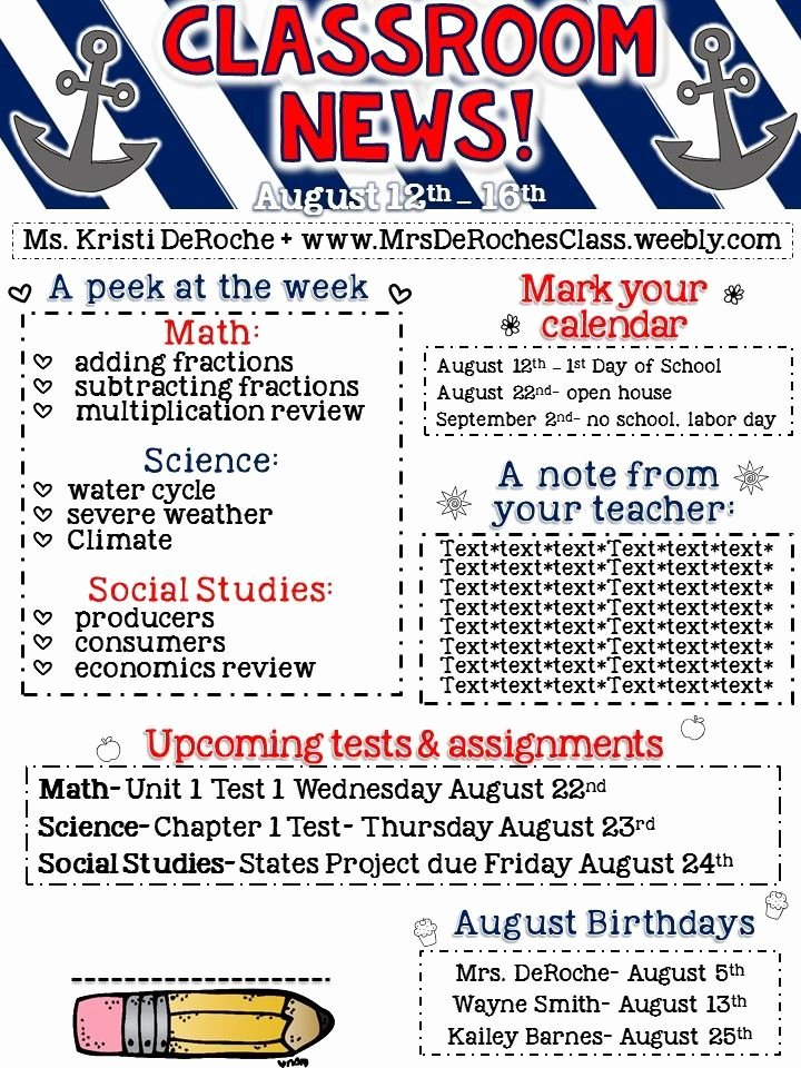 Newsletter Examples for Students Best Of Classroom Newsletter Editable Nautical Red Blue and