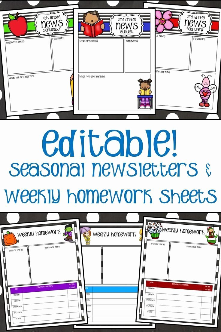 Newsletter Examples for Students Elegant Newsletters and Weekly Homework Sheet K 2 Seasonal