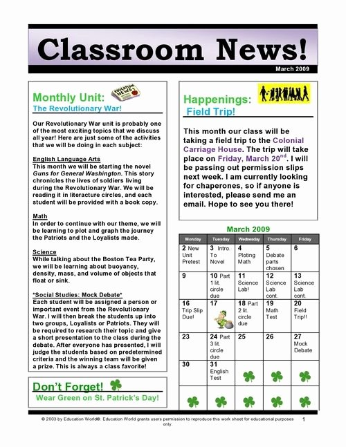 Newsletter Examples for Students Inspirational 1 Classroom Newsletter – Provide Information for Students