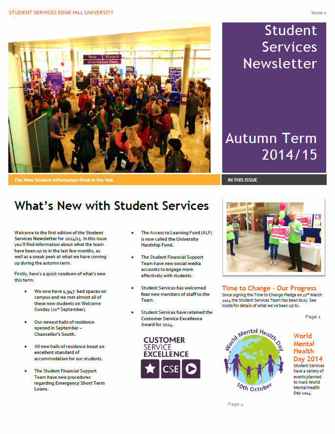 Newsletter Examples for Students Lovely Student Services Newsletter Autumn 2014 Student Services