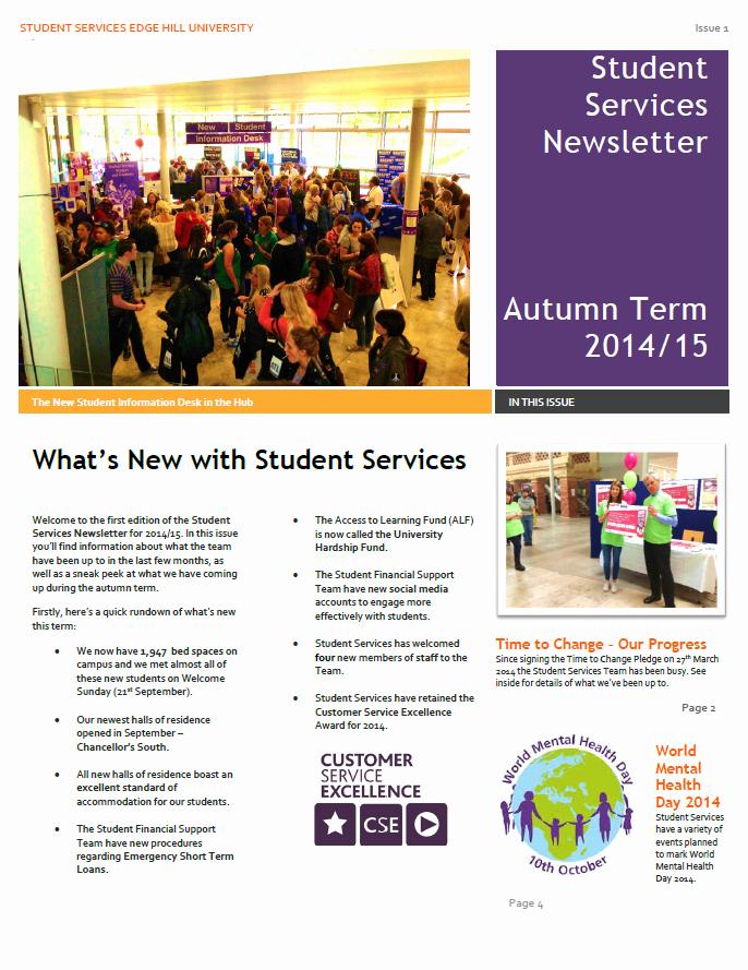 Newsletter Examples for Students Lovely Student Services Newsletter Autumn 2014 Student Services