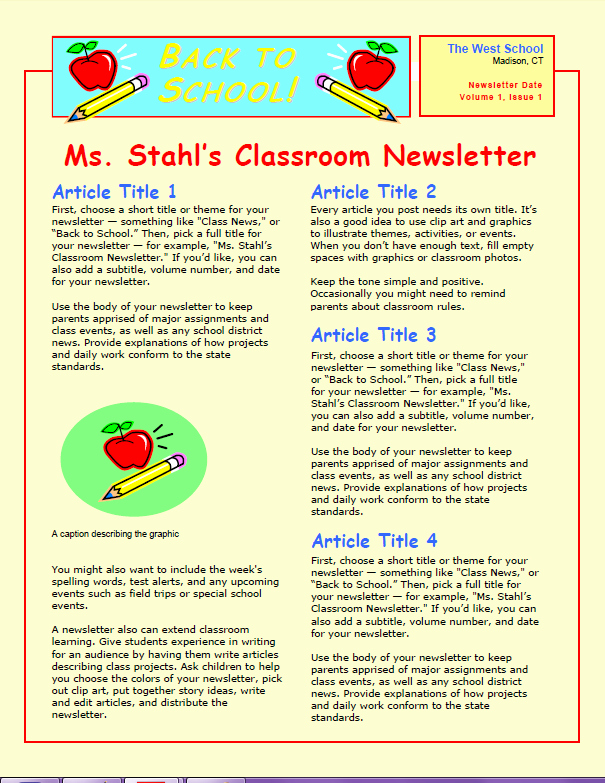 Newsletter Examples for Students New Wel Ing Students before the First Day Of School