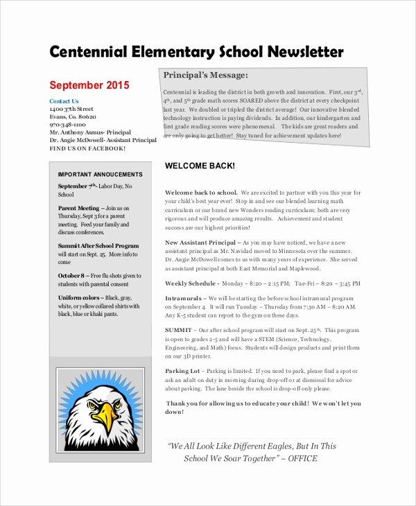 Newsletter Sample for School Elegant Sample School Newsletter 7 Documents In Pdf Word
