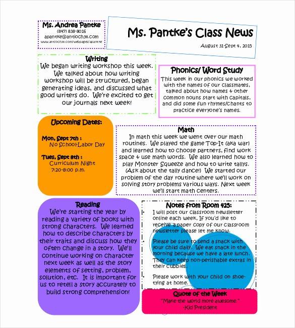 Newsletter Sample for School Fresh 13 Classroom Newsletter Templates Free Sample Example format Download