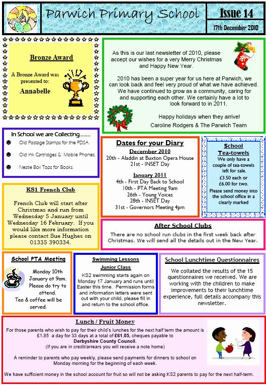 Newsletter Sample for School Inspirational School Newsletter No 14