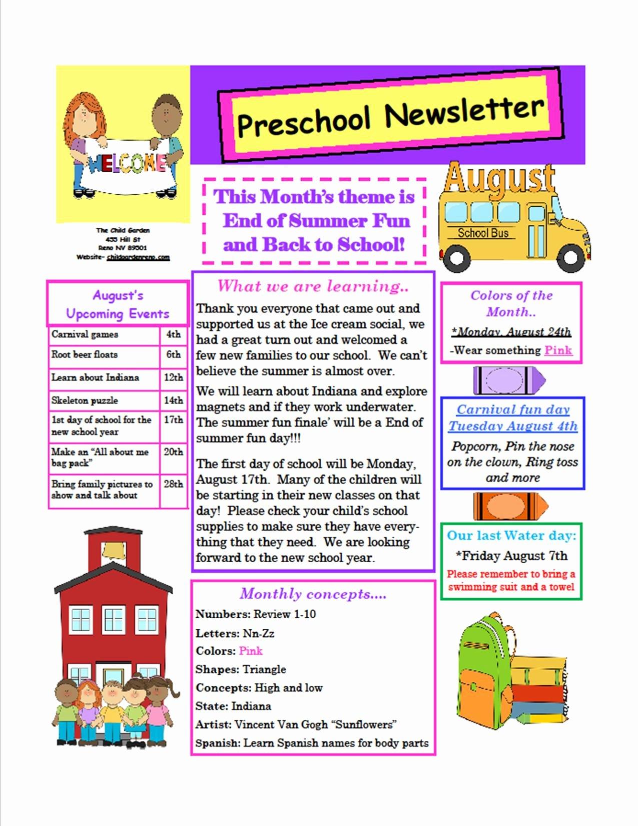 Newsletter Sample for School Inspirational the Child Garden Preschool