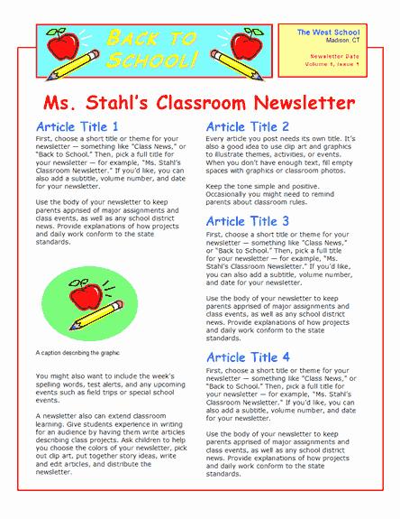 Newsletter Sample for School Lovely School Newsletter 2 Col 2 Pp