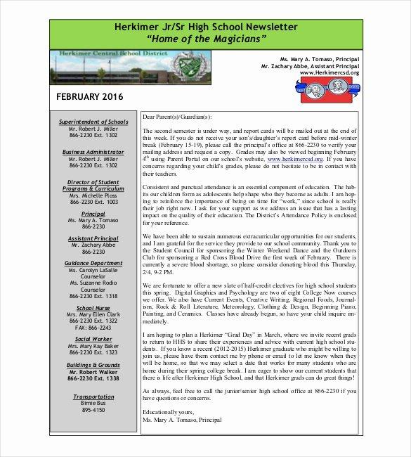 Newsletter Sample for School Lovely School Newsletter Template 14 Word Pdf Psd Documents Download