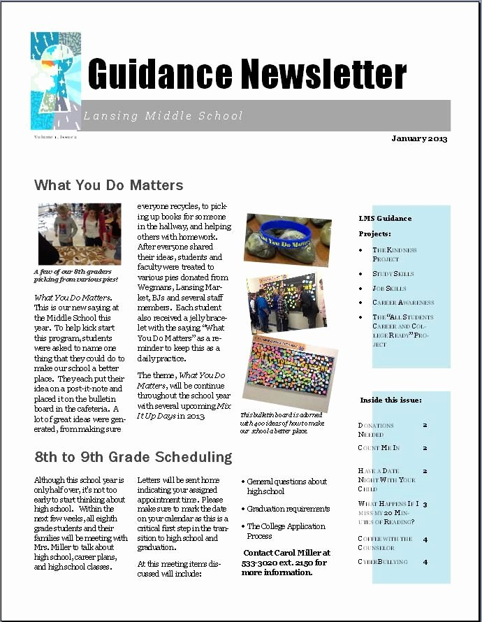 Newsletter Sample for School Luxury 17 Best Promoting Your School Counseling Program Images On Pinterest
