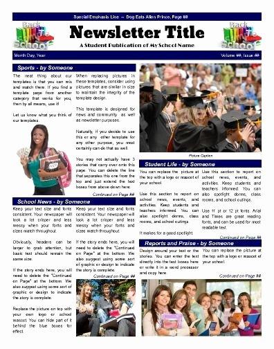Newsletter Sample for School Luxury 7 Best School Newsletter Templates Images On Pinterest