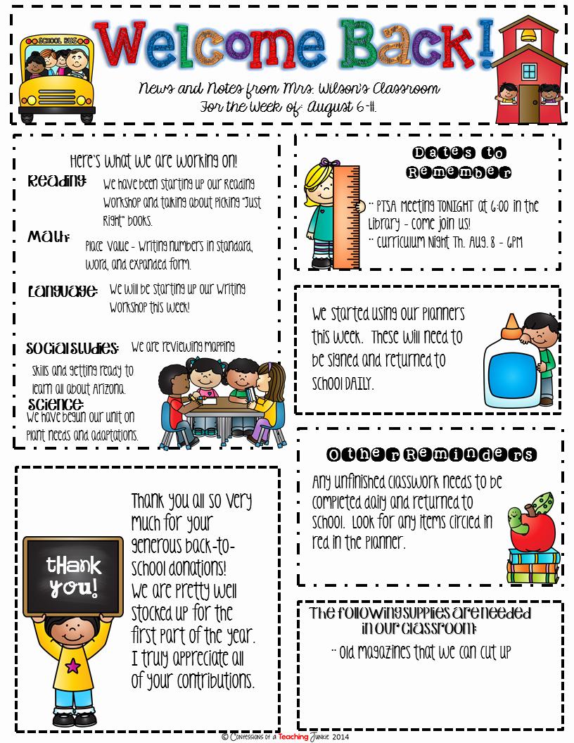 Newsletter Sample for School Luxury Seasonal Classroom Newsletter Templates for Busy Teachers organized Classroom