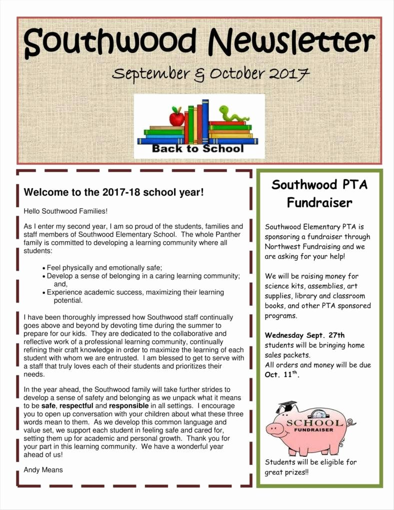 Newsletter Sample for School Unique 9 Kindergarten Newsletter Templates Free Samples Examples formats Download