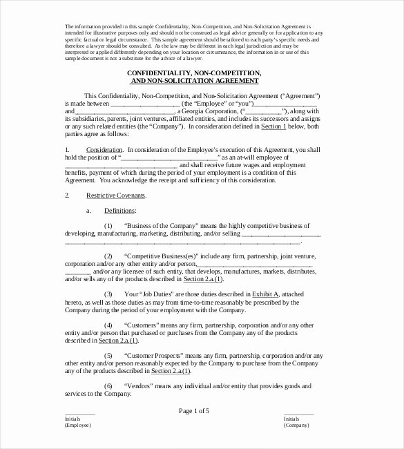 Non Compete Agreement Sample Pdf Best Of Non Pete Agreement Template – 10 Free Word Excel Pdf