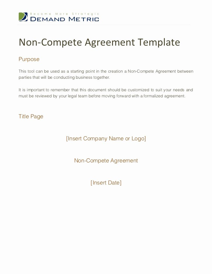 Non Compete Agreement Sample Pdf Best Of Non Pete Agreement Template