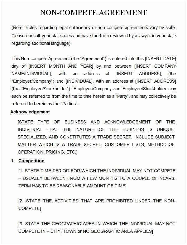 Non Compete Agreement Sample Pdf Fresh Generic Non Pete Agreement Pdf Free software