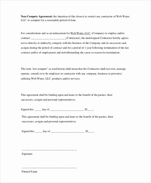 Non Compete Agreement Sample Pdf Luxury Basic Agreement form