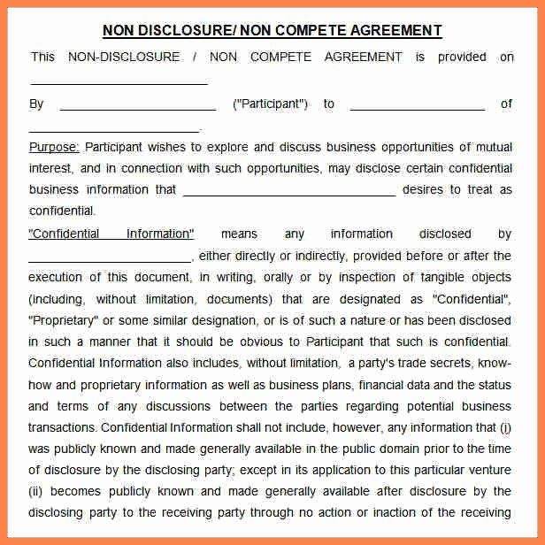 Non Compete Agreement Sample Pdf Unique 10 Non Pete Non Disclosure Agreement Template