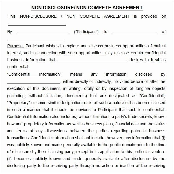 Non Compete Agreement Sample Pdf Unique Free 13 Sample Non Pete Agreement Templates In Google