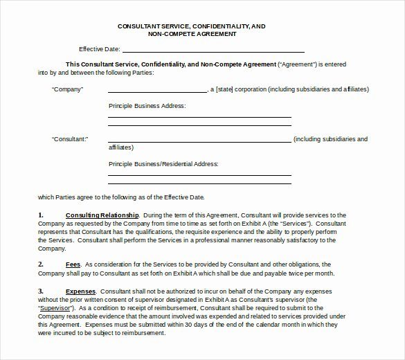 Non Compete Agreement Template Awesome 13 Word Non Pete Agreement Templates Free Download