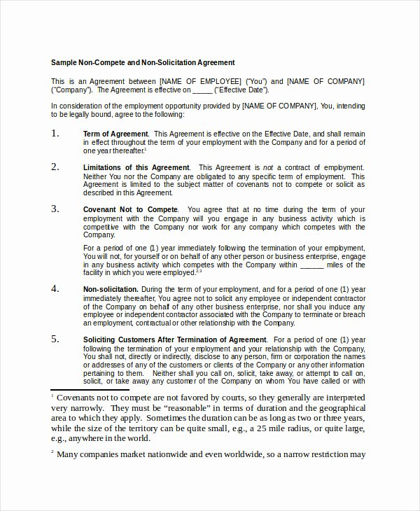 Non Compete Agreement Template Awesome Non Pete Agreement 11 Free Word Pdf Documents