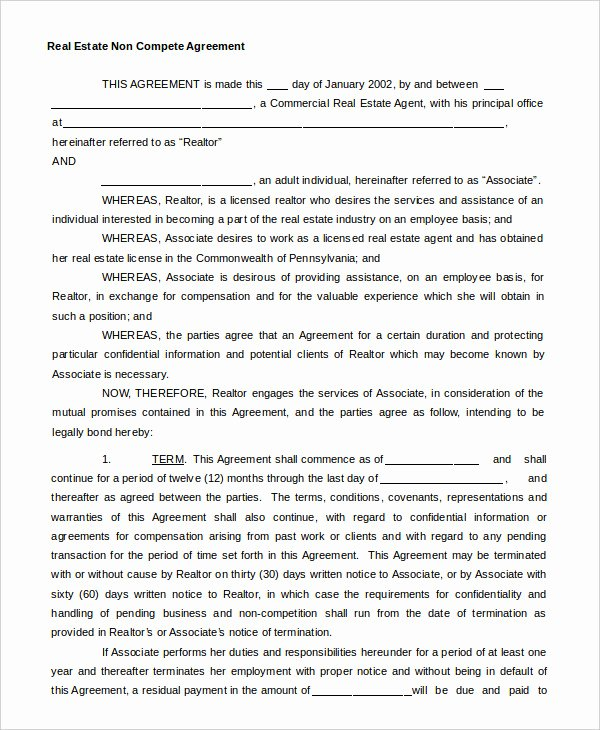Non Compete Agreement Template Awesome Non Pete Agreement Template 12 Free Word Pdf format