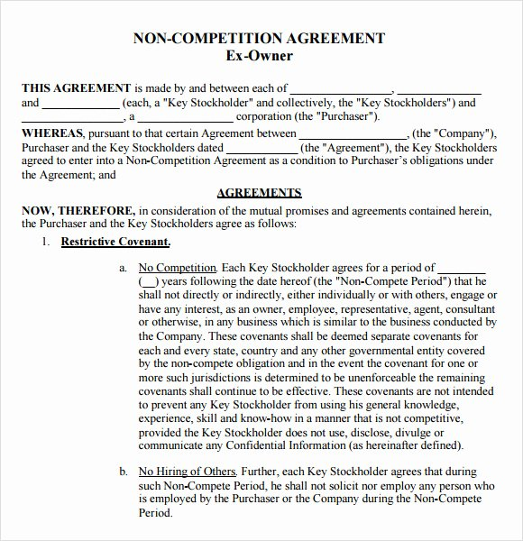 Non Compete Agreement Template Beautiful Non Pete Agreement Template 12 Documents In Pdf Word