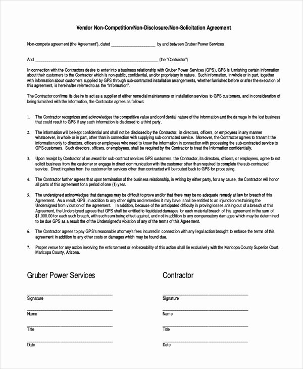 Non Compete Agreement Template Best Of 10 Vendor Non Pete Agreement Template Free Sample