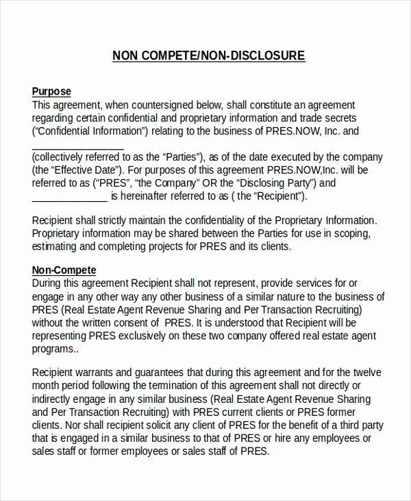 Non Compete Agreement Template Best Of 17 Agreement Templates Free Sample Example format