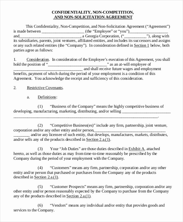 Non Compete Agreement Template Elegant 11 Employee Non Pete Agreement Templates Free Sample